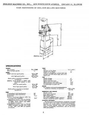 Sheldon Horizontal Milling Machine Parts Manual