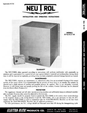 Electro-Matic Neutrol Magnetic Chuck Control Manual