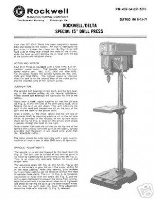 Rockwell Delta Special 15 Inch Drill Press Manual