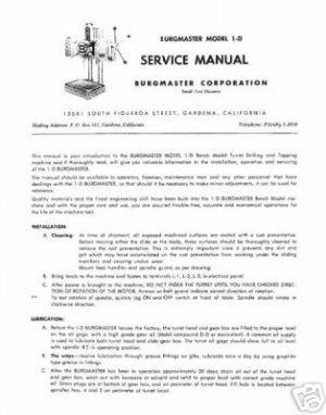 Burgmaster 1-D Turret Drill Service Manual