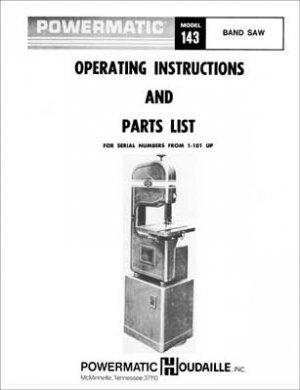 Powermatic Model 143 Band Saw Manual