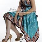 SEXY CLEAVAGE TEAL BROWN HALTER FLORAL SCARF DRESS M L