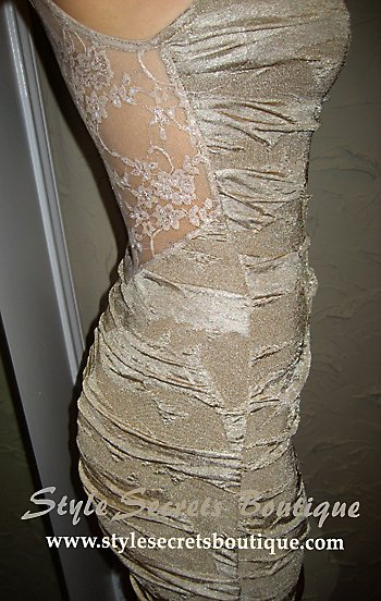 Size M/L: SEXY NUDE/BEIGE OPEN BACK SHEER VICTORIAN LACE BANDAGE COCKTAIL DRESS