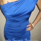 Size XS: SEXY RHINESTONE SKY BLUE ONE SHOULDER DRAPED COCKTAIL BANDAGE DRESS