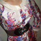 Size L: GORGEOUS FINE SILK FLORAL LONG SLEEVE TRELLIS BORDER SHIFT DRESS