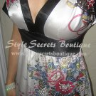 Size M: SEXY ORIENTAL FLORAL PRINT KIMONO SILKY SATIN BABYDOLL DRESS