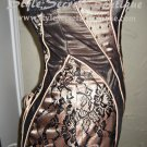 Size XS: Celeb Runway Nude Victorian Sheer Lace CORSET Bra Satin Dress