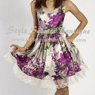 Size XS: FOXY FLORAL SEQUINS SHEATH SHEER SCALLOPED LACE TULLE PRINCESS PUFFY DRESS