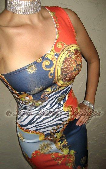 Size S: SEXY ZEBRA PAISLEY VENETIAN CACHE PRINT BODYCON WIGGLE DRESS