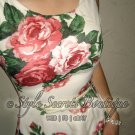 Size S: SEXY GARDEN VINTAGE TEA VICTORIAN ROSES CHIFFON FLARE BELTED FLORAL DRESS