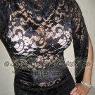 Size M: SEXY PINUP RHINESTONE SCALLOPED VICTORIAN NUDE LACE WIGGLE DRESS