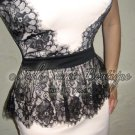 Size L: SEXY SWEETHEART CREAM CHANTILLY LACE TRIM FLORAL CORSET TULIP DRESS