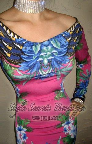 Size M: SEXY BORDER FLORAL DOLCE PINK SKY OFF-SHOULDER WIGGLE SHEATH DRESS