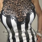 Size L: SEXY STRIPED VICTORIAN CROCHET LACE EMBROIDERED BODYCON WIGGLE PENCIL DRESS