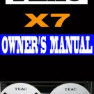 TEAC  X7  X-7    Reel-to-Reel  ~  User / Owner's Manual