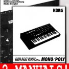 KORG MonoPoly SERVICE & OWNERS MANUALS