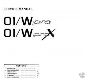 SERVICE MANUAL KORG 01/W (01w o1/w Pro / ProX  * PAPER!