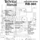 ROTEL RB991 RB-991 AMP  -= SERVICE MANUAL = - Paper