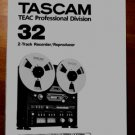 TASCAM 32 Reel-to-Reel 2 Track  - USER manual -