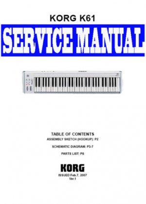 KORG  K61 MIDI KEYBOARD ~ REPAIR / SERVICE MANUAL ~