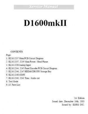 Repair/ Service Manual for KORG D1600  D-1600 [MkI]