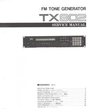 YAMAHA TX802 TX-802 Rack Synth Service Manual +Schematc