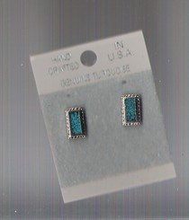 silver oblong genuine turquoise earrings