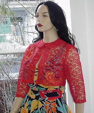 Sheer 50s Vintage VLV RED Lace Crop Topper Bolero S M