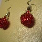 New Red Ball Crystal Charm Earrings E016