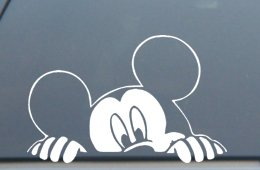 "Mickey Mouse Peeking Decal Sticker 5""L x 7.5""W"