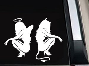 "Sexy Girl Angel Devil Decal Vinyl Sticker 7.5""L x 9.2""W"