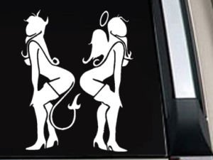 "Angel Devil Girl Decal Sticker 10""L x 7.8""W"