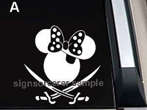 "Minnie Mouse Pirate Decal Sticker 8""L x 8""W"