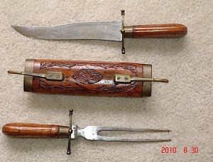 Vintage Made in India carving knife and fork with Wood Case