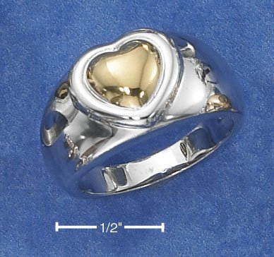 STERLING SILVER TWO-TONE HEART ON 11MM HIGH POLISH TAPERED BAND