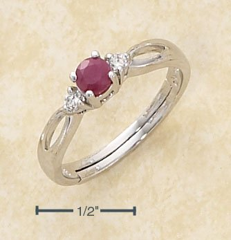 GENUINE RUBY 4MM ROUND W/ SIDE CZ'S MARQUISE CUTOUT BAND