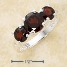STERLING SILVER TRIPLE ROUND GENUINE GARNET RING