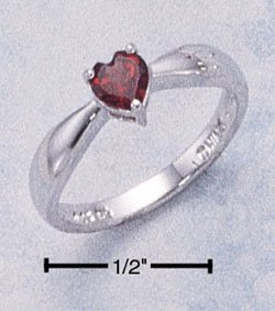 STERLING SILVER HEART SHAPED GENUINE GARNET  RING