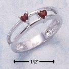DOUBLE BAND RING W/ HEART SHAPED GENUINE GARNET