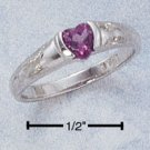 SILVER RING W/ HEART SHAPED GENUINE AFRICA AMETHYST