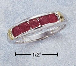 STERLING SILVER RING W/ CHANNEL SET GENUINE RUBY
