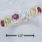 "GENUINE RAINBOW GEMSTONE WAVE RING W/ ""S"" BARS"