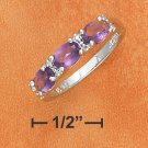 STERLING SILVER TRIPLE 4X6MM SIDE OVAL AMETHYST RING
