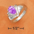 "9X6MM AMETHYST PEAR ON TAPERED SHANK WITH ""V"" DESIGN"