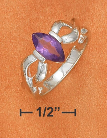STERLING SILVER 5X10MM TENSION SET AMETHYST MARQUISE RING