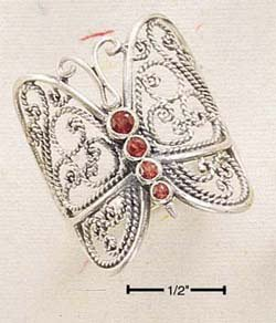 LARGE FILIGREE BUTTERFLY RING W/ GARNET BODY