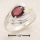 STERLING SILVER SIDE SWIRL OVAL GARNET RING