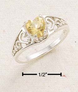 STERLING SILVER CITRINE HEART W/ FILIGREE BAND