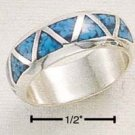 SILVER TRIANGLE SHAPED TURQUOISE INLAY WEDDING BAND