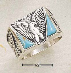 STERLING SILVER MEN'S TURQUOISE EAGLE RING.